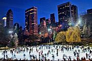Park Framed Prints - Central Park Skaters Framed Print by June Marie Sobrito