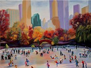 New York Pastels Posters - Central Park Skating Poster by Marion Derrett