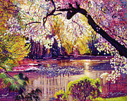 Pink Blossoms Prints - Central Park Spring Pond Print by David Lloyd Glover