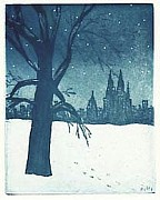 Snow Scene Drawings Originals - Central Park by Stephen Francis Duffy