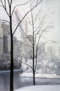 Park Scene Paintings - Central Park Vertical by Diane Romanello