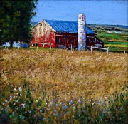 Pennsylvania Pastels Framed Prints - Central Pennsylvania Barn above Summer Wheat Fields Framed Print by Bob Richey