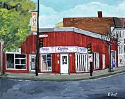 Montreal Restaurants Painting Framed Prints - Centre Pizza Verdun Framed Print by Reb Frost