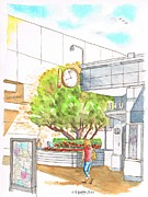 City Flowers Paintings - Century-City-Mall- tree-with-watch by Carlos G Groppa