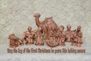 Baby Donkey Posters - Ceramic Nativity Scene Poster by Linda Phelps