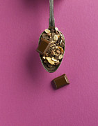 Granola Posters - Cereal And Chocolate In Spoon On Pink Background Poster by Westend61