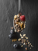 Granola Posters - Cereal With Fruits And Chocolate In Spoon, Close Up Poster by Westend61