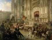 Crowds Painting Posters - Ceremonial Reception Poster by Adolf Jossifowitsch Charlemagne