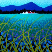 Roofs Paintings - Cerulean Hills by John  Nolan