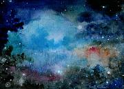 Outer Space Abstract Paintings - Cerulean Space Clouds by Janet Hinshaw