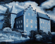 Czech Paintings - Cervena Lhota Castle  Czech Republic  Midnight Oil Series by Mark Webster