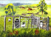 Poppies Drawings Posters - Cervinia Sheep Farm Poster by Carol Wisniewski