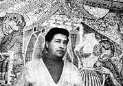 Ev-in Metal Prints - Cesar Chavez Stands In Front Of The Metal Print by Everett