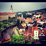 Czech Republic Art - Cesky Krumlov Castle view by Kate Pru
