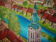 Prague Mixed Media Prints - Cesky Krumlov Print by Latha  Vasudevan