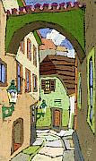 Old Buildings Framed Prints - Cesky Krumlov Masna Street Framed Print by Yuriy  Shevchuk
