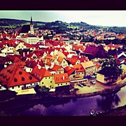 Czech Republic Art - Cesky Krumlov old city view by Kate Pru
