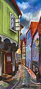 Architectur Metal Prints - Cesky Krumlov Old Street 1 Metal Print by Yuriy  Shevchuk