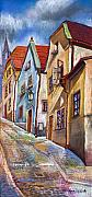 Old Pastels Framed Prints - Cesky Krumlov Old Street 2 Framed Print by Yuriy  Shevchuk
