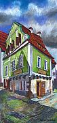 Featured Pastels Prints - Cesky Krumlov Old Street 3 Print by Yuriy  Shevchuk