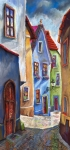 Landscapes Glass Originals - Cesky Krumlov Old Street by Yuriy  Shevchuk