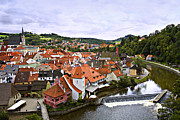 Travel Sightseeing Prints - Cesky Krumlov Overview 2 Print by Madeline Ellis