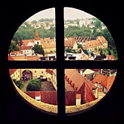 Czech Republic Art - Cesky Krumlov view through a medieval window by Kate Pru