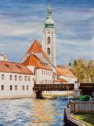 State Paintings - Cesky Krumlov Watercolor by Michelle Wiarda