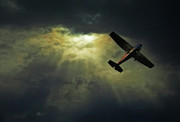 Mid-air Photo Posters - Cessna 172 Airplane Poster by photograph by Anastasiya Fursova