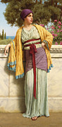 Stood Painting Framed Prints - Cestilia Framed Print by John William Godward