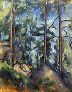 1899 Prints - Cezanne: Pines, 1896-99 Print by Granger