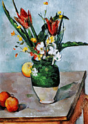 1892 Framed Prints - Cezanne: Tulips, 1890-92 Framed Print by Granger