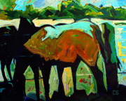 Impressionistic Horse Paintings - Cezannes Mare by Charlie Spear
