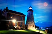 Cg Lighthouse By The Moon Print by Emily Stauring