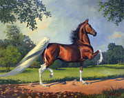 Saddlebred Posters - CH. Racing Stripe Poster by Jeanne Newton Schoborg