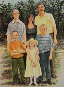 Group Pastels - Chad And Wendys Family by Larry Whitler