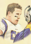 Dakota Drawings - Chad Greenway by Kurt Holdorf