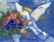 Rose Painting Prints - Chagall Blue Angel Print by Granger