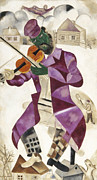 Coat Framed Prints - Chagall: Violinist, 1923 Framed Print by Granger