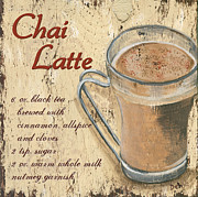 Text Words Posters - Chai Latte Poster by Debbie DeWitt