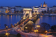 Travel Destinations Art - Chain Bridge At Night by Romeo Reidl