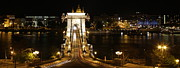 Night Pyrography Prints - Chain Bridge Budapest From Above Print by Zsolt Bicskey