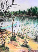 Canoe Pastels Prints - Chain Lakes Duck Mountain MB Print by Janice Robertson