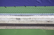 Asphalt Framed Prints - Chain Link Fence on Tennis Courts Framed Print by Paul Edmondson
