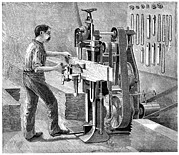 Sawing Framed Prints - Chain Mortiser Saw, 19th Century Framed Print by
