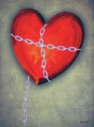 Chain Posters - Chained Heart Poster by Jeff Kolker