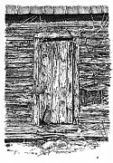 Doorway Drawings Framed Prints - Chained Shut Framed Print by Peter Muzyka
