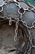 Heavy Chains Framed Prints - Chains on a tire Framed Print by Intensivelight