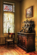 Lace Curtains Posters - Chair - In the corner of Grandmas Kitchen Poster by Mike Savad