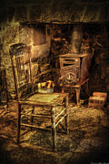 Antique Wood Burning Stove Posters - Chair - The chair and the stove Poster by Mike Savad